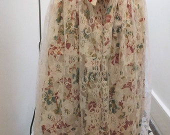 Summer midi skirt - handprint Balinese lace mix cotton ' floral midi skirt (small/medium)