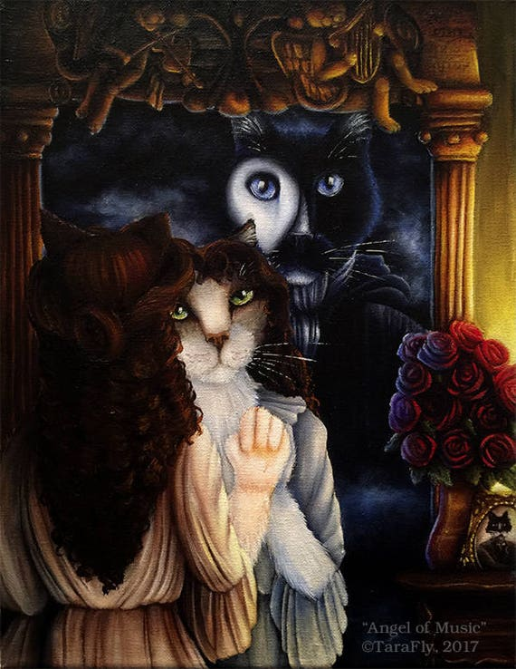 Phantom of the Opera Christine Daae Cat Art 8x10 Print