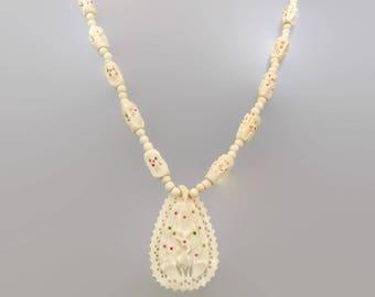 Peacock Necklace, Carved Bone, Vintage Jewelry, Bird Necklace, Asian, Ethnic Tribal, Cream, Beaded Necklace, Boho Bohemian, Vintage Pendant