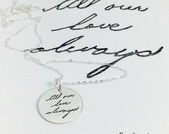 Custom Handwriting Jewelry, Handwriting Charms, Handwriting Pendant, Handwriting Necklace, Engrave Your Handwriting, Handwriting Jewelry