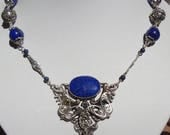 Art Nouveau Lapis-Marcasite and Sterling Necklace--one of a kind