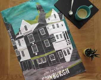Edinburgh Tea Towel / John Knox House Tea Towel / Royal Mile Large Dish Cloth / Scotland Tea Towel / Edinburgh Architecture Tea Towel
