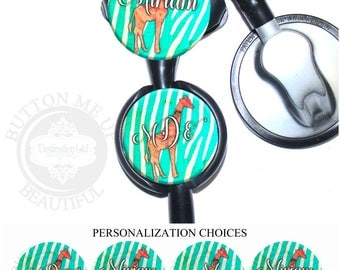 "1 1/2"" Design Stethoscope ID Tag - Personalized Giraffe on Turquoise Zebra Stripes Nurse Littmann Identification (A451)"