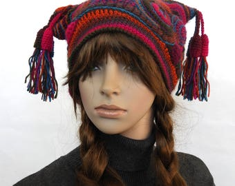 Freeform Crochet Jester Hat, Women's Beanie, Harlequin beanie, Multi color Rainbow OOAK crochet hat with Tassels