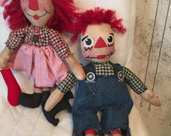 Primitive~ANNIE~w~Stocking~and~ANDY~and~Dog~DOLLS~Every~Detail~Handmade~Lightly~Stained~and~Scented~Cinnamon~Coffee~Vanilla~Unique~Gift~Or~?