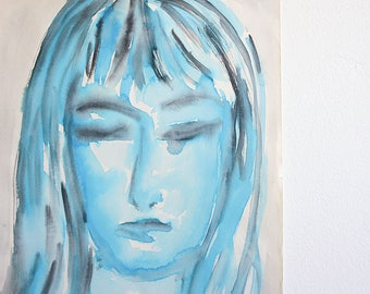 1960's Watercolor Portrait of a Woman / 18 x 12 / Signed and Dated / Mid Century Art / Blue and Gray