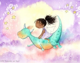 She Flies Dragons - African American Girl with Curly Hair Riding Dragon- Fine Art Print