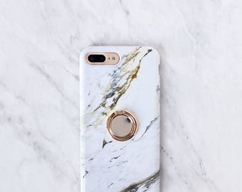 Marble Ring Grip Phone Holder Case iPhone and Samsung Galaxy Finger Holder Ring Stand
