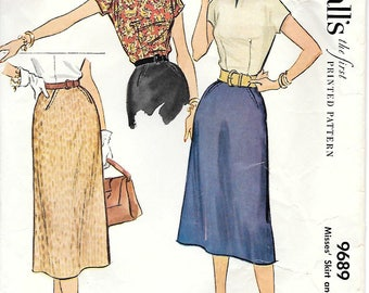 McCall's 9689 1950s Wiggle Skirt and Top Vintage Sewing Pattern Size 14 Bust 32
