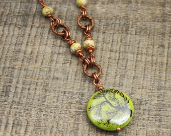 Green tree necklace, ceramic, faceted glass beads, copper chain 19 inches long