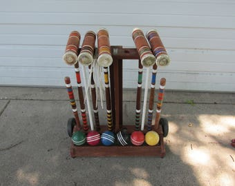 Wood Croquet Set with Stand 5 Mallets 6 Balls and Wickets