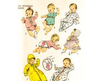 Baby Layette Pattern Simplicity 8761 Sacque Romper Bunting Kimono Pajama Newborn