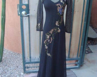 Vintage Sheer Long Black Embroidered 2 Piece Dress n Underslip Size XS By Cascade