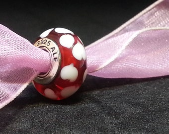 USED Pandora Murano Glass RED Sweet hearts charm bead # 790948+ Pocket box~ RETIRED