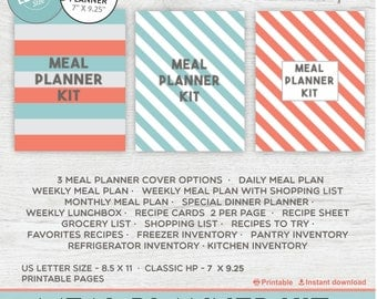 Meal Planner Printable Menu Planner, Weekly Meal Planner, Weekly Meals,  Grocery Shopping List, Happy Planner - Instant Download PDF