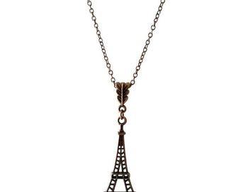 Antique Bronze Eiffel Tower Pendant Necklace (BRNK112)