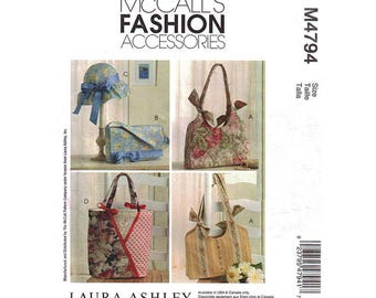 DIY Handbags & Hat - Fashion Accessories Pattern McCalls #4794 - 3 Different Style Bags + 1 Hat - Great Pattern Gifts - Laura Ashley Design