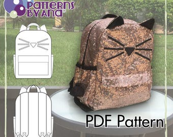 Back to School! Girl Kitty Toddler Backpack PDF Sewing Pattern. DIY