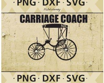 Horse Carriage Antique Coach Silhouette SVG PNG DFX File - stencil - stencils art