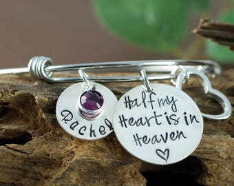 Personalized Memorial Bangle Bracelet, Half My Heart is In Heaven, Bereavement Jewelry, Hand Stamped Bracelet, Charm Bracelet