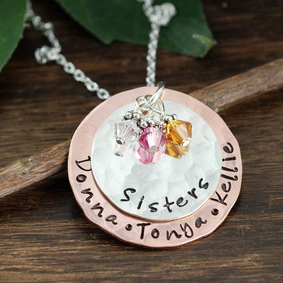 Personalized Sister GIfts, Sister Necklace, Gift for Sister, Hand Stamped Sister Necklace, Mixed Metal Necklace, gift for sister