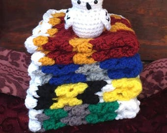 Snowy Owl Blanket Lovey Baby Newborn Crochet Lovies Photo Prop White Owl Toy Harry Potter Wizard Witch Inspired Gift Baby Shower