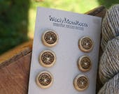 SALE! 6 Wooden Tree Buttons- Oregon Myrtlewood- Wooden Buttons- Eco Craft Supplies, Eco Knitting Supplies, Eco Sewing Supplies