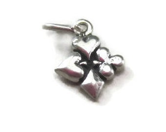 Tiny Aces Charm Sterling Silver, Playing Cards Charm Suits Poker Bridge Bracelet Charm