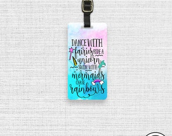 Luggage Tag Dance with Unicorns Mermaids Rainbows Metal Luggage Tag  With Printed Custom Info On Back, Single Tag