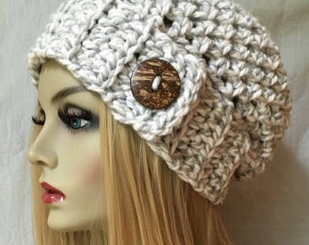 Womens Hat, Slouchy Beret, Gray White Twist, Coconut Button, Chunky, Warm, Teens, City Hat, Birthday Gifts, Gifts for Her, JE222BT8