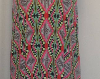 Plus Size Tank Top, Plus Size Tunic, Coco and Juan, Lagenlook, Pink Green Print, Angled, Tank Top Size 1 Fits 1X,2X Bust  to 50 inches