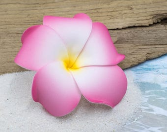 Plumeria Flower Hair Clip, Pink, 3 inch, Foam Flower,  Hawaiian Hair Flowers, Pink Hair Clips