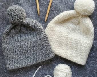 Hat Knitting Pattern, Double Brim Beanie Pattern, Knitting Pattern Hat, Knit Hat Pattern, Double Brim Hat Pattern, Knit Pom Pom Hat Pattern