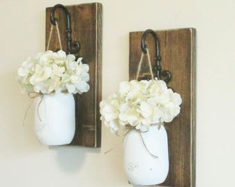 Rustic Hanging Mason Jar Sconces Stained Boards Farmhouse Wall Decor Hanging Mason Jars Rustic Home Decor Curly Black hooks