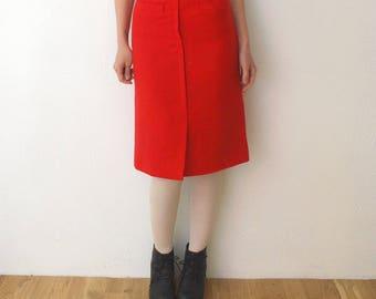 70s red wool skirt. knee length skirt. wool a line skirt - xs