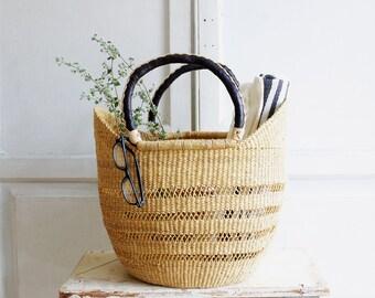 woven basket bag | market tote leather handles