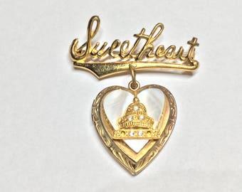 Sweetheart Locket Heart Vintage Brooch Pin