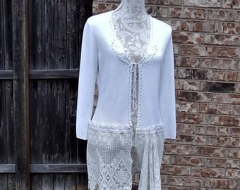 Altered White CARDIGAN SWEATER, Rayon/Nylon Knit, Scalloped Crocheted Trim, Cotton crochet Lace Scalloped Skirt,Size Small, Magnolia Style
