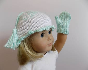 18 Inch Doll Hat and Mitten Set, Doll Mittens, Doll Hat, Knit Doll Hat, Knit Doll Mittens, 18 Inch Doll Accessories, Doll Clothes, Toys