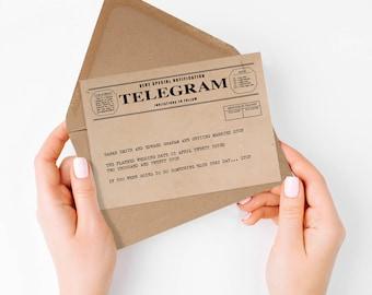 telegram save the date or engagement announcement - printable file - vintage postcard, rustic, retro, unique, 1920s 1930s 1940s style kraft