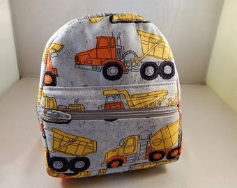Mini backpack Child Teen School Pretend Play Construction Print Ready to ship back pack