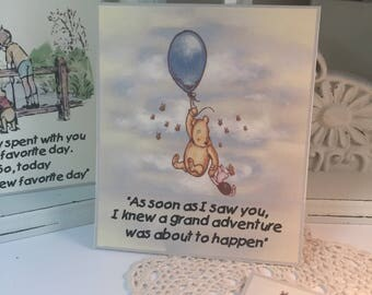 Winnie The Pooh Happy Birthday Cake Sign Classic Winnie The Pooh Signs for Gift Table.. Set of 3