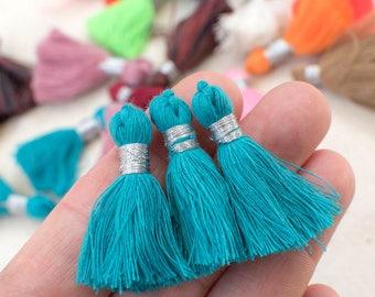 Aquamarine Tassels, 1.5 inch, 5pcs,  Cotton  Tassels, Short Tassels, Bracelet Tassels -TA4