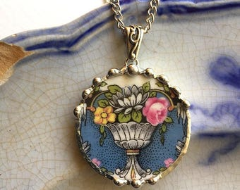 Broken china jewelry - china necklace pendant -  antique china blue with rose water lily floral urn - circle pendant necklace recycled china