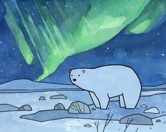 Polar Bear and Northern Lights Art Print, arctic nursery, cute animal illustration