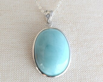 Silver Oval Larimar Necklace, Silver Necklace, 18 inch Silver Chain, Oval Larimar Pendant, Gift for her, Silver Jewelry, Blue Necklace
