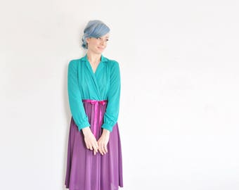 colorful colorblock secretary dress . turquoise teal purple fuchsia pink frock .medium .donate good cause