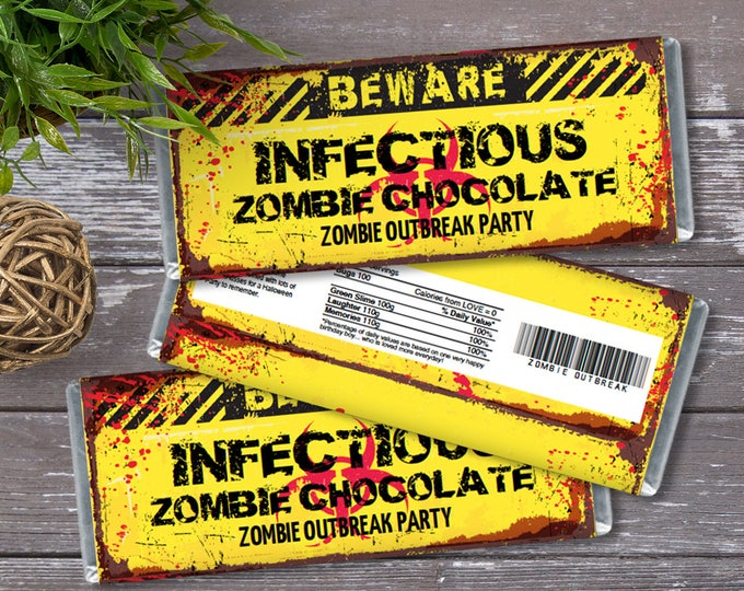 Zombie Candy Bar Wrapper - Zombie Outbreak Party, Halloween, Infectious Candy Wrapper/Label | DIY INSTANT Download PDF Printable
