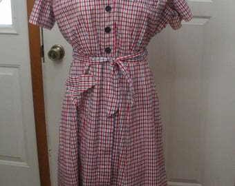 Vintage Princess Peggy Red White Blue Dress- Cotton Day Dress