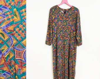 Vintage 1980s-90s Abstract Printed Long Sleeved Onsie/ Jumpsuit Size L
